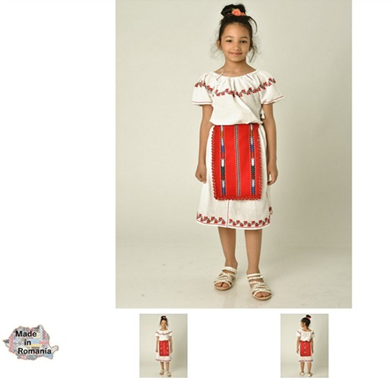 Romanian TRADITIONAL COSTUME FOR CHILDREN - Girl - short sleeves